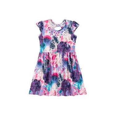 Vestido Infantil Brandili - Em Cotton Light - Rosa e Roxo