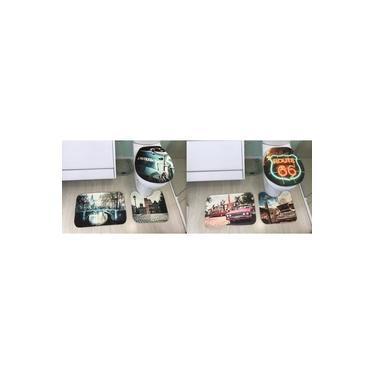 Imagem de 2 Kits de Tapete para Banheiro Decore Cada Kit contém 3 peças