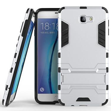 Capa híbrida para Samsung Galaxy On7 (2016), Galaxy On7 (2016), capa à prova de choque, capa rígida híbrida de proteção de camada dupla com suporte para Samsung Galaxy On7 de 5,5 polegadas (2016) (prata)