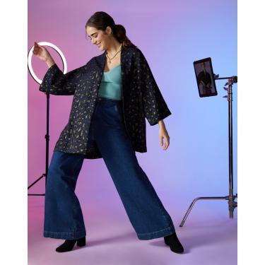 calça jeans flare bolso frente tiktok Feminino AMARO AZUL ESCURO 38
