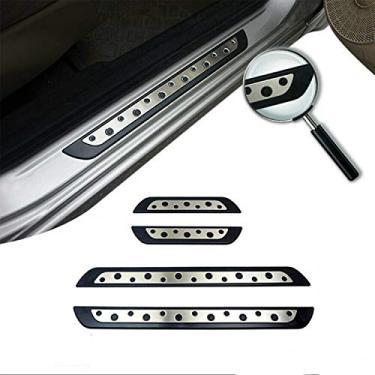 Imagem de OMAC Acessórios interiores automotivos de aço inoxidável e placa de plástico cromada peitoril da porta   Protetores de porta de carro   Protetor de passo de aço 4 peças. Serve para Jeep Renegade