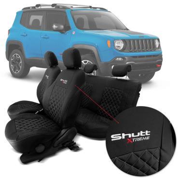 Imagem de Capa Banco Shutt Xtreme Jeep Renegade Longitude Trailhawk 15 17 Couro Ecológico Preta Costura Prata