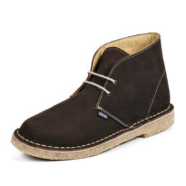 Bota em couro nobuck e forrada em couro vacum London Style Modelo Desert Plus cor Brown  masculino