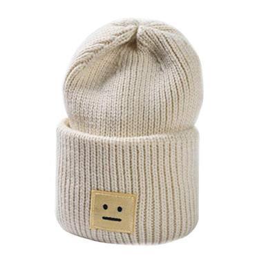 Gorro despojado KESYOO Fashion Criativo Inverno Gorro de Malha Listrado Torcido Chapéu de Malha Unissex Quente com Punho Simples Gorro de Malha de Caveira Gorro de Esqui (Bege)