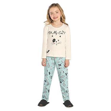 Pijama Infantil Feminino Gatinho Rovitex Kids Bege 10