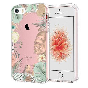 Capa Unov para iPhone SE (2016) iPhone 5S iPhone 5 transparente com design de folhas em relevo padrão TPU macio com absorção de choque, capa traseira protetora fina de 4 polegadas (flores tropicais)