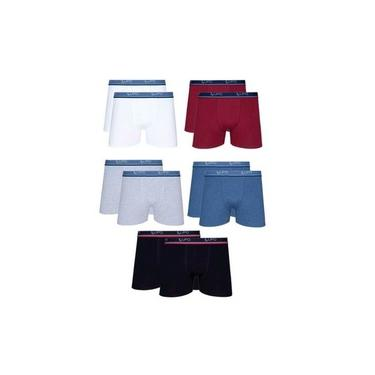 Kit 10 Cuecas Box Lupo Algodão Boxer Masculina Adulto Cotton Preto/ Branco/ Azul/ Marsala/ Mescla G