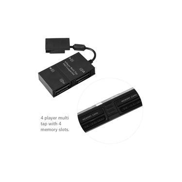 Torneira multifuncional, adaptador de controlador multi-torneira para 4 jogadores com 4 slots de memória para console de jogo Sony PS2 e Win 98 / 2K /