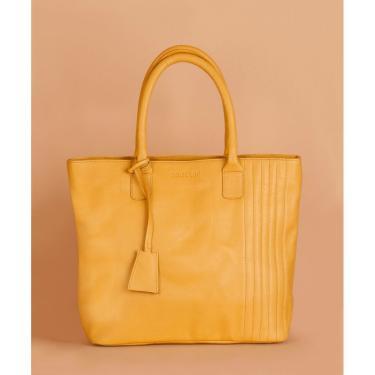 Bolsa Soulier Bolsa Grande Foco Em Couro Amarelo  feminino