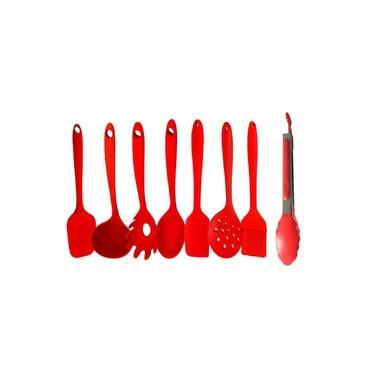Jogo de Utensilios Domesticos de Cozinha Silicone Concha Colher Espatula Escumadeira Pincel 6 Pçs