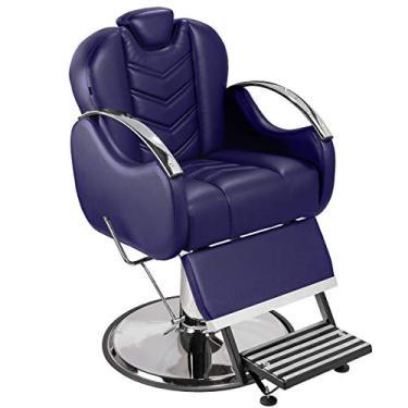 Cadeira de Barbeiro Alfa com Encosto e Apoio de Pé Reclináveis - Pé Cromado - Azul Escuro