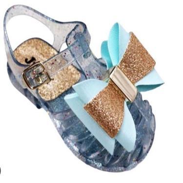 Imagem de Sandália infantil bebê meninas com Laço Azul Glitter  feminino
