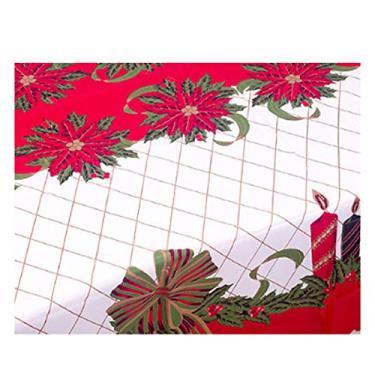 Imagem de giveyoulucky 150 x 180 cm Toalha de mesa de Natal com estampa temática de Natal retangular requintada capa de mesa de poliéster decoração de festa K