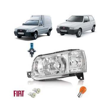 Farol Com Lâmpadas H4 + Pingão Led Uno Fiat 12 Novo Dir