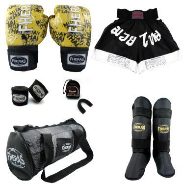 Kit Boxe Muay Thai Fheras  Completo 10 oz  GRAFITE
