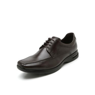 Sapato Social Couro Democrata Pespontos Marrom Democrata 448026-002 masculino