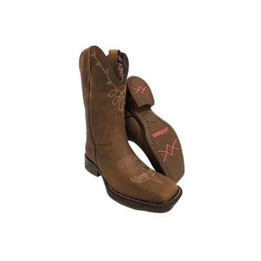 Bota Texana Country Feminina Jácomo Crazy Amendoa