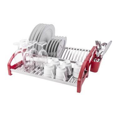 Imagem de Escorredor 20 pratos Inox Cama Vermelho - Soltecn
