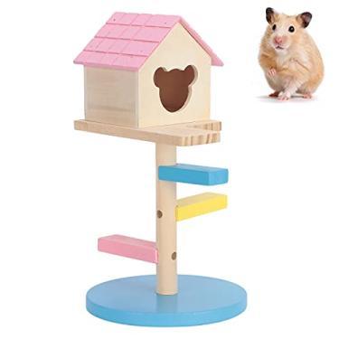 Imagem de Velaurs Cabana de madeira, pequenos escadas, esconderijo para brincar e esconde animais de estimação (pó, azul)
