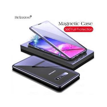 Capa Magnética Galaxy S10 Plus Tela 6,4 Alumínio Premium Traseira de Vidro Temperado Preto