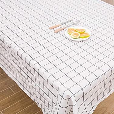 Imagem de Toalha de mesa de flanela de vinil com fundo de 137 cm x 180 cm, toalha de mesa para mesa de sala de jantar, tampa de mesa retangular, protetor de PVC Espessura de tapete de mesa anti-quente