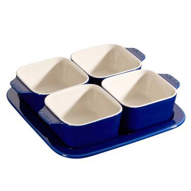 Imagem de Conjunto para Aperitivos Cerâmica 5 Peças Azul Marinho Staub