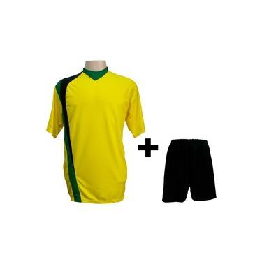 Uniforme Esportivo com 14 camisas modelo PSG Amarelo/Preto/Verde + 14 calções modelo Madrid Preto +