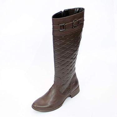 bota feminina montaria, em legitimo couro bovino, tipo latego, forrada em tecido espumado, solado de borracha modelo 208 (39, CAFE)
