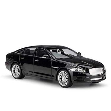 Imagem de Deformation toys 1:24 para jaguar 2010 para jaguar xj esportes carro simulação liga modelo de carro artesanato coleção t-Oy ferramentas presente (Color : Black)