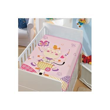 Cobertor Infantil Tradicional Gatinha Pedalando - Rosa - Jolitex