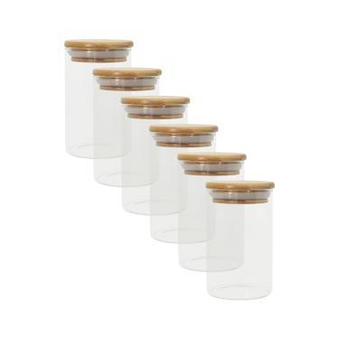 Imagem de Kit 6 Potes De Vidro P/ Mantimentos 250Ml C/ Tampa Bambu