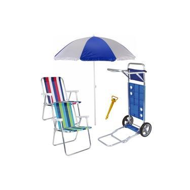 Kit Praia Carrinho Com Avanço + Guarda Sol + 2 Cadeira Alta Aluminio + Saca Areia - Mor