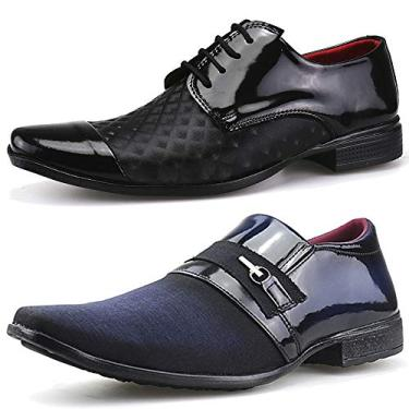 Kit 2 Pares Sapato Social Neway Masculino Preto e Azul