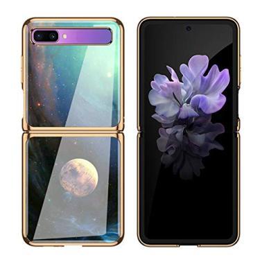 Capa SGVAHY para Samsung Galaxy Z Flip, capa traseira rígida de vidro macio com glitter dourado bumper capa protetora ultrafina para SM-F7000 5G (Planet, Galaxy Z Flip)