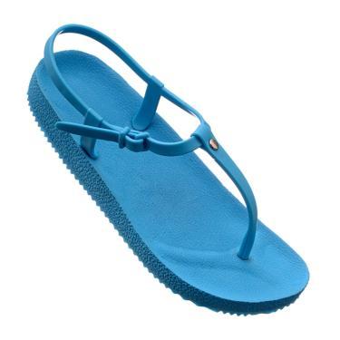 Imagem de Sandália Rasteira Tiras De Griffe Chinelo Azul Turquesa  feminino