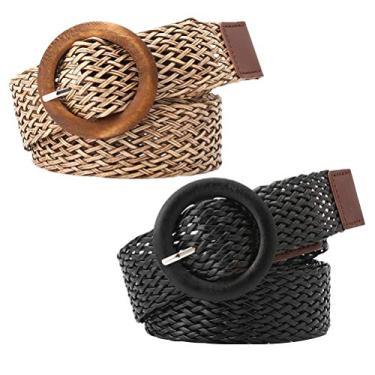Cinto feminino KesYOO 2 peças estilo étnico fivela redonda cinto de cintura para mulheres jeans (preto, cáqui), Preto + cáqui, 106*3.5*1.5cm