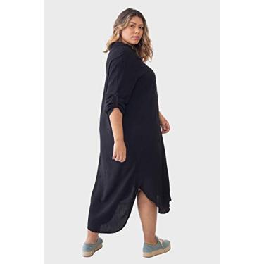 Vestido Chemise Longo com Fendas Viscolinho Plus Size Preto