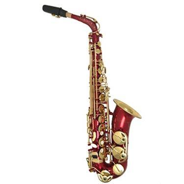 Imagem de Saxofone Alto Mib Vermelho com chaves Douradas Halk