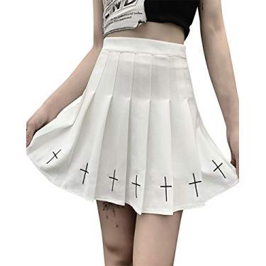Saia gótica plissada sexy roxa cintura alta mini saia xadrez com cadarço, Saia branca, M