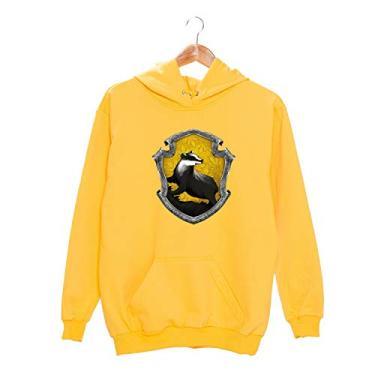Moletom Canguru Feminino Harry Potter Escola de Magia e Bruxaria de Hogwarts Lufa Lufa Hufflepuff Cor:Amarelo;Tamanho:G;