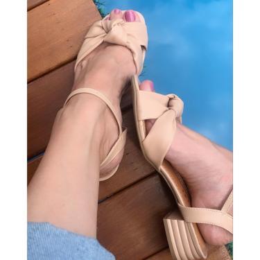 Sandália Nó Salto Quadrado Alyssa Nude 35 Lelive  feminino