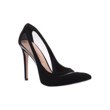 Sapato Scarpin Feminino em Nobuck e Vinil Transparente Cecconello 1346005