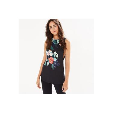 30635a333b5 Camiseta Regata Farm Rio Maxi Cavada Floral Manaus - Feminina - PRETO Farm  Rio