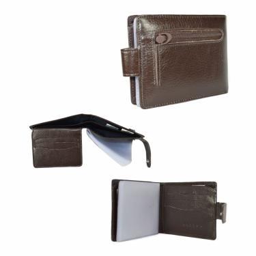 Carteira Masculina c/fecho Couro Legítimo Porta Cartão Doc e Moedas Café nz023
