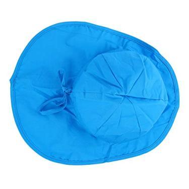 KESYOO Chapéu de sol para bebês, com aba larga e aba larga para praia de verão, Azul escuro, L