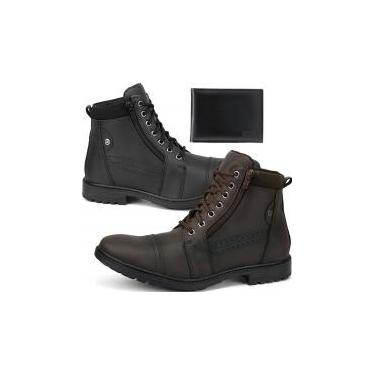 Kit 2 Pares Bota Coturno Casual Masculino Combo Com Carteira - 38 - New style