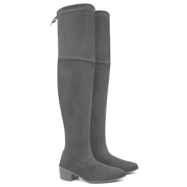 Bota Over The Knee Feminina Cano Alto Casual Salto Médio Preto  feminino
