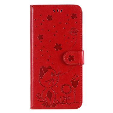 JZ [Gato e Abelha 3D] Capa carteira para celular Sony Xperia Z5 Capa carteira flip [magnética e alça de pulso] - Vermelha
