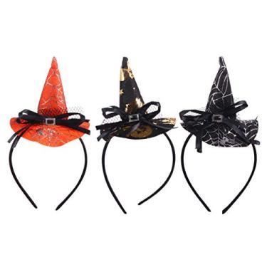 Imagem de Lurrose 3 peças chapéu de bruxa tiara de teia de aranha Halloween Headwear bruxa cosplay arco de cabelo tiara acessórios de fantasia de Halloween