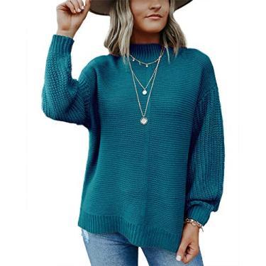 Suéter feminino Imily Bela com gola careca e manga balão moderno pulôver de malha despojado, Azul marinho, L